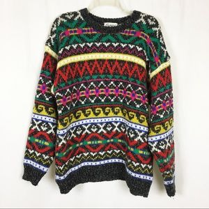 Vintage Changes multicolor fair isle sweater L